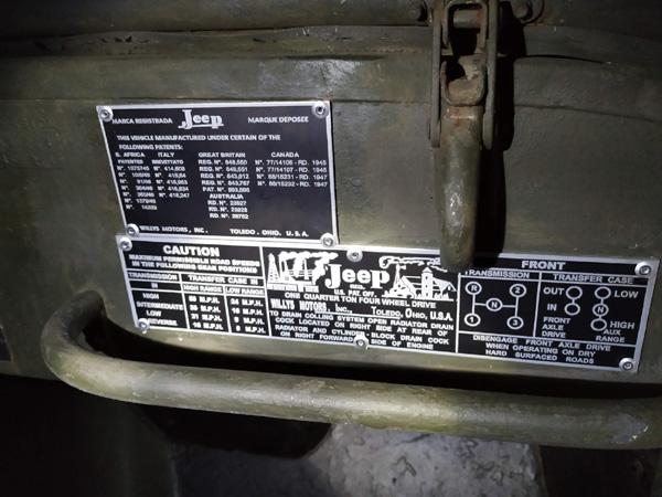 Plaque constructeur jeep
