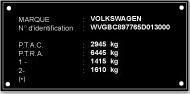 Plaque constucteur Volkswagen