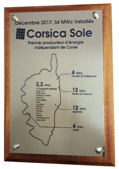 Plaque laiton poli miroir carte Corse