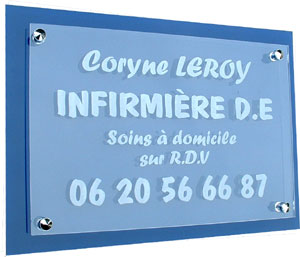 Plaque professionnel  plexi transparent + support plexi bleu